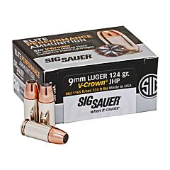 Sig Sauer Elite Performance 9mm Luger 124 Grain V-Crown Jacketed Hollow Point 20 Rounds