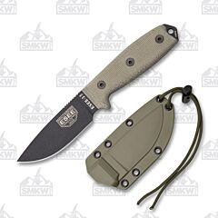 ESEE 3MIL-P Plain Edge Black Blade OD Green Sheath OD Green Micarta Handles