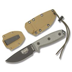 ESEE 3P Black Plain Edge Blade OD Green Micarta Handles Coyote Brown Sheath