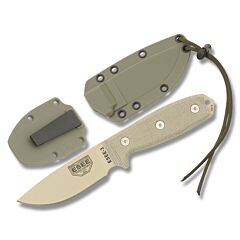 ESEE 3P-DT Plain Edge Tan Blade Tan Micarta Handles OD Green Sheath