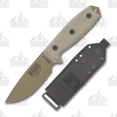 ESEE 3P MB DE Dark Earth Coated Blade Tan Micarta Handles Black MOLLE Back Molded Sheath