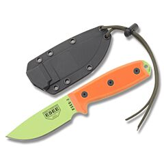 ESEE 3PM VG Plain Edge Modified Pommel Venom Green Blade Orange G10 Handles Black Sheath