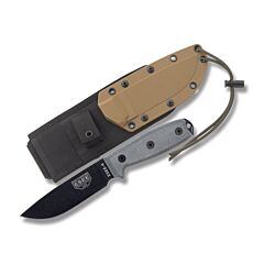 ESEE 4P MB Black Blade Gray Micarta Handle Coyote Brown Sheath MOLLE Back