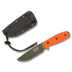 ESEE 4P MB OD Olive Drab Blade Orange G10 Handles Black Sheath MOLLE Back