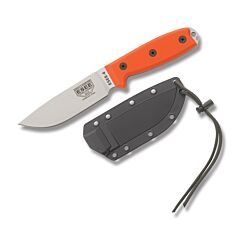 ESEE 4P MB SS OR Stainless Steel Blade Orange G10 Handles Black Sheath MOLLE Back