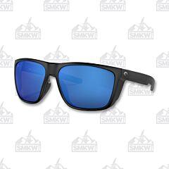 Costa Ferg Matte Black Sunglasses Blue Mirror
