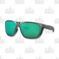 Costa Ferg XL Shiny Gray Sunglasses Green Mirror