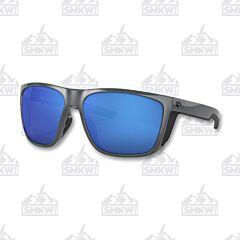 Costa Ferg XL Shiny Gray Sunglasses Blue Mirror