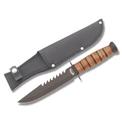 "Frost Cutlery Marine Commander with Stacked Leather Handles and Black Finish Stainless Steel 7"" Clip Point Plain Edge Blades and Black Nylon Belt Sheath Model 18-109B"