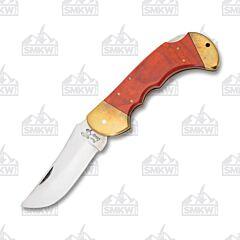 Frost Cutlery Red Pakkawood Comanche Bigfoot Lockback
