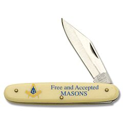 Frost Cutlery Masonic Novelty Knife Stainless Steel Blade Composition Handle
