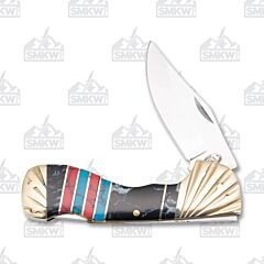 Frost Cutlery Silverhorse Stoneworks Black Blue & Red Choctaw Lockback