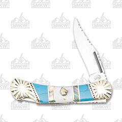 Frost Cutlery Silverhorse Stoneworks Blue Turquoise Small Lockback