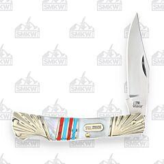 Frost Cutlery Steel Warrior Mother of Pearl Barracuda Lockback