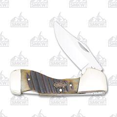 Frost Cutlery Steel Warrior Brown Chain Saw Jigged Bone Choctaw Lockback