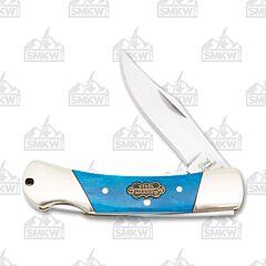 Frost Cutlery Steel Warrior Blue Smooth Bone Small Lockback