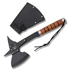 Frost Cutlery Tac-Xtreme Battle Axe I Stainless Steel Construction Stacked Leather Handle