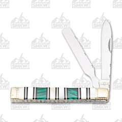 Frost Cutlery Uncle Lucky Mother of Pearl Green Malachite Doctor's Knife