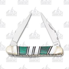 Frost Cutlery Uncle Lucky Mother of Pearl Green Malachite Muskrat