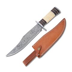 Frost Cutlery Valley Forge Cutlery Skinner Walnut & Smooth Bone Handle Damascus Steel Blade