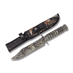 Frost Cutlery Whitetail Cutlery OD Green Camo Survival Bowie Stainless Steel Blade