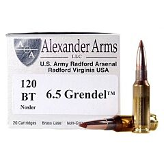 Alexander Arms 6.5 Grendel 120 Grain Hollow Point Boat Tail 20 Rounds