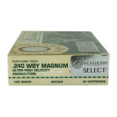 Weatherby Select 240 Weatherby Magnum 100 Grain Jacketed Soft Point 20 Rounds