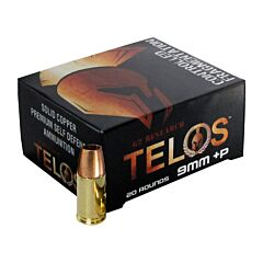 G2 Research Telos 9mm Luger +P 92 Grain Fragmenting Hollow Point Solid Copper Lead Free 20 Rounds