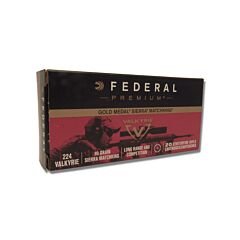 Federal Premium Gold Medal 224 Valkyrie 90 Grain Sierra MatchKing Hollow Point Boat Tail 20 Rounds