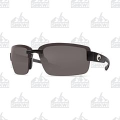 Costa Galveston Sunglasses Shiny Black Plastic Frame Gray Polarized Plastic Lenses