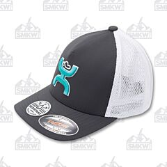 Hooey Coach Gray White Turquoise Logo Hat S/M