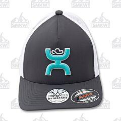 Hooey Coach Gray White Turquoise Logo Hat S/M