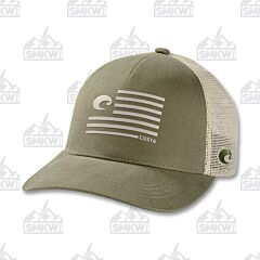 Costa Pride Logo Trucker Hat Moss Green