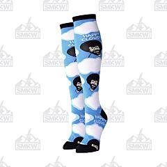 Oooh Yeah! Happy Clouds Women's Blue Knee High Crew Socks