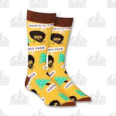 Oooh Yeah! Bob Ross Happy Tree Tan Women's Crew Socks