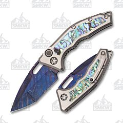 Heretic Knives Custom Medusa Auto Tanto Blue Damascus Abalone