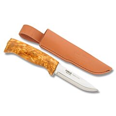 "Helle Fjellkniven with Curly Birch Handles and Triple Laminated Stainless Steel 3.938"" Drop Point Plain Edge Blade"