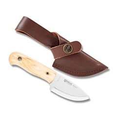 "HELLE Knives Mandra with Curly Birch Handle and Triple Laminated Stainless Steel 2.75"" Drop Point Plain Edge Blade with Brown Leather Sheath Model 620"