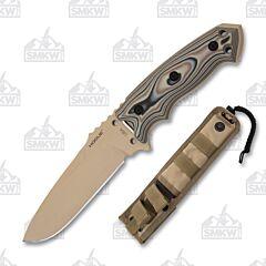 "Hogue Knives EX-F01 with Dark Earth G-Mascus G-10 Handles and Gun Kote A2 Tool Steel 5.5"" Drop Point  Plain Blade with Tan Nylon Sheath Model 35173"