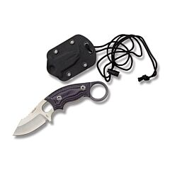 "Hogue Knives EX-F03 with Purple G-Mascus G-10 Handles and Stonewash Coated 154CM Stainless Steel 2.25"" Clip Point Plain Edge Blade with Molded Nylon and Neck Knife Sheath Combo Model 35338"