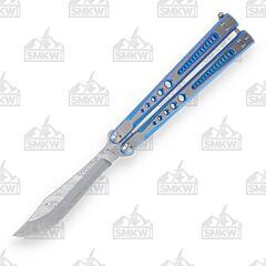 Heibel Valor Damasteel Bjorkmans Twist Blue Titanium Balisong