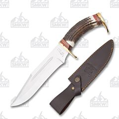 Hen & Rooster Stag Bowie with Leather Sheath