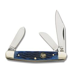 "Hen and Rooster Stockman 3.375"" with  Brilliant Blue Bone Handles and Stainless Steel Plain Edge Blades Model 333BLPB"