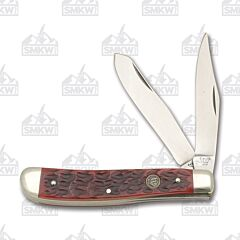 "Hen and Rooster Trapper 3.875"" Red Pick Bone Handle"