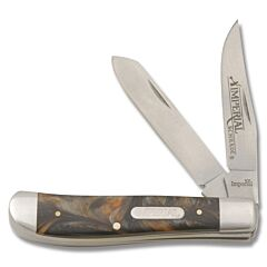 "Imperial Schrade Medium Trapper 3.50"" Black Celluloid Handles with Grey and Amber Swirls"