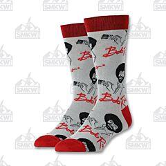 Oooh Yeah! It's Bob Ross Women's Grey and Red Crew Socks