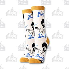 Oooh Yeah! It's Bob Ross Women's Tan Crew Socks