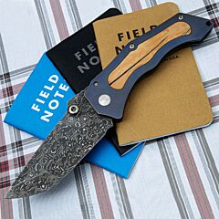Jim Burke Customized Fugitive Titanium with Mastodon Damascus Steel Folding Knife