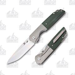 Kansept Warrior K1005T7 Titanium Green Micarta Drop Point