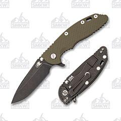 """Hinderer Knives XM-18 3.5"""" Battle Black OD Green"""